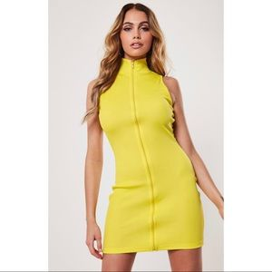 NEW misguided yellow rib highneck zip dress. Sz 10